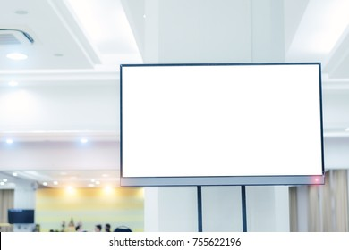 LED TV white screen in business seminar room with copy space.Flat Smart TV Mockup with blank white screen.For design, general information.Popular modern technology.Television,Advertising,Media