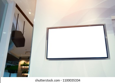 LED TV white screen in the department store.Smart lcd with blank white screen for mockup and design.Modern technology for customer information services.Television,Advertising,Media