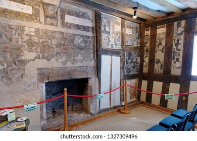 Ledbury Herefordshire England May 2018.  15th CenturyTown Council offices containing Elizabethan paintings from 16th century. Discovered during renovation work in 1989. Known as The Painted Room