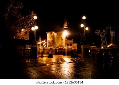 Ledeni Christmas market closed at night in Zadar, Croatia