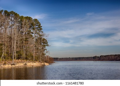 Ledge Rock a section of Falls Lake. Falls lake is a 12,410 acre reservoir located in Durham, Wake, and Granville counties in North Carolina, USA. Falls Lake extends 28 miles  up the Neuse River.
