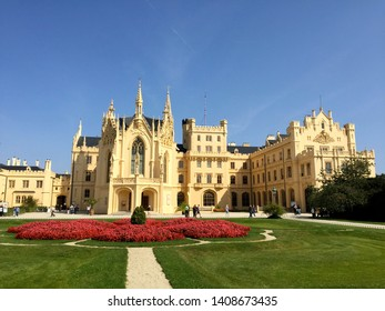 LEDNICE, CZECH REPUBLIC – SEPTEMBER 8, 2017: Castle Lednice, an 1800s palace built on a Renaissance chateau & Gothic fort, with a riding hall & formal gardens