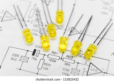 Leds over electronic diagram