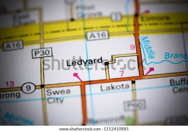 Ledyard. Iowa. USA on a map