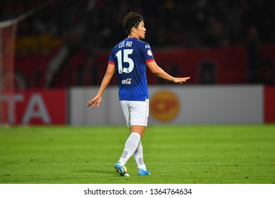 Lee Ho of SCG Muangthong United in action during The Football Thai League between Bangkok United and SCG Muangthong United at True Stadium on March 02,2019 in Pathum Thani, Thailand