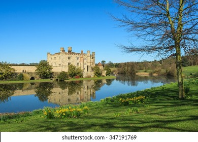 Leeds Castle and moat.