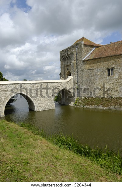 Leeds Castle and surrounding moat in Kent, England