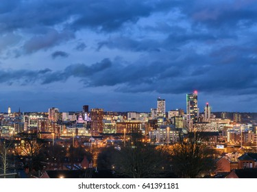 Leeds Cityscape, United Kingdom under a heavy clouds.