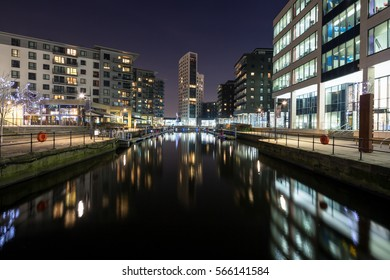Leeds Dock, formerly Clarence Dock, at Night in Leeds