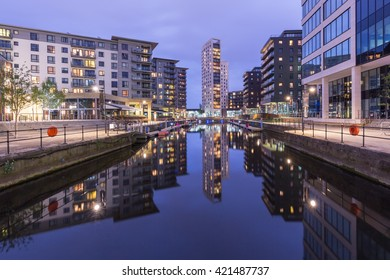 Leeds Dock at night, previously Clarence Dock