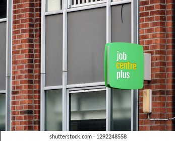 leeds, england - 13, sepetmber, 2018: a sign outside a job centre plus in leeds england run by the UK Department for Work and Pensions for its working-age support service and encourage employment