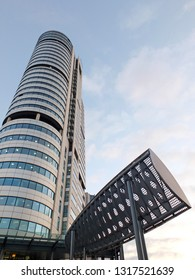 leeds, england - 14 February 2019: The Bridgewater Place building the tallest structure in leeds with aerodynamic wind baffles constructed outside to deflect dangerous high winds under the building