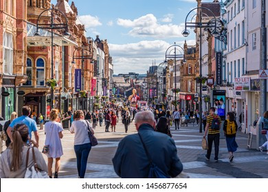 Leeds / England - July, 06,2019: leeds trinity city centre