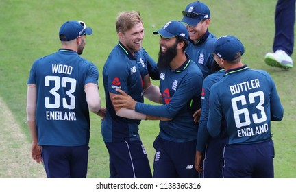 LEEDS, ENGLAND - JULY 17: David Willey celebrates a wicket during the 3rd Royal London One day International match between England and India at Headingley Cricket Ground on July 17, 2018 in  England.