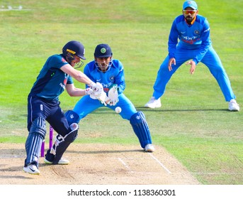 LEEDS, ENGLAND - JULY 17: Eoin Morgan, MS Dhoni and Virat Kohliduring the 3rd Royal London One day International match between England and India at Headingley Cricket Ground on July 17, 2018