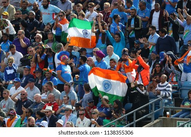 LEEDS, ENGLAND - JULY 17: India fans during the 3rd Royal London One day International match between England and India at Headingley Cricket Ground on July 17, 2018 in  England.