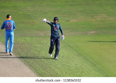 LEEDS, ENGLAND - JULY 17: Joe Root of England celebrates scoring a century during the 3rd Royal London One day International match between England and India at Headingley Cricket Ground