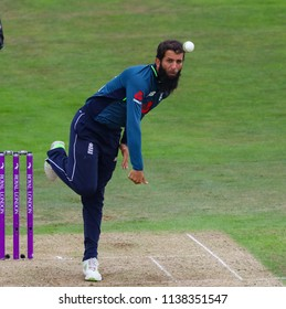 LEEDS, ENGLAND - JULY 17: Moeen Ali bowling during the 3rd Royal London One day International match between England and India at Headingley Cricket Ground on July 17, 2018 in  England.