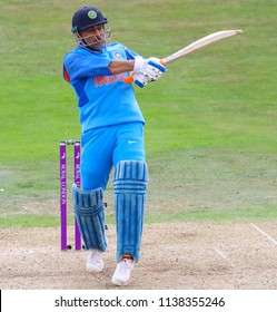 LEEDS, ENGLAND - JULY 17: MS Dhoni during the 3rd Royal London One day International match between England and India at Headingley Cricket Ground on July 17, 2018 in  England.