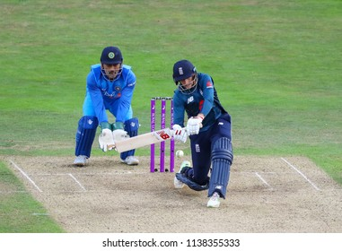 LEEDS, ENGLAND - JULY 17: MS Dhoni and Joe Root during the 3rd Royal London One day International match between England and India at Headingley Cricket Ground on July 17, 2018 in  England.