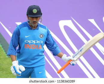 LEEDS, ENGLAND - JULY 17: MS Dhoni walks off after being dismissed during the 3rd Royal London One day International match between England and India at Headingley Cricket Ground on July 17, 2018