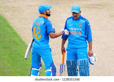 LEEDS, ENGLAND - JULY 17: Virat Kohli, and MS Dhoni  during the 3rd Royal London One day International match between England and India at Headingley Cricket Ground on July 17, 2018 in  England.
