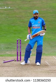 LEEDS, ENGLAND - JULY 17: Virat Kohli of India reacts after being dismissed during the 3rd Royal London One day International match between England and India at Headingley Cricket Ground