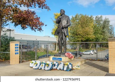 LEEDS, ENGLAND - OCTOBER 24, 2018: Statue of Don Revie outside legendary Elland Road stadium. Don Revie was the manager who created Leeds Uniteds great team of the 1960's and 1970's.