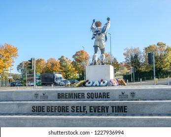 LEEDS, ENGLAND - OCTOBER 24, 2018: Bremner square outside Elland Road stadium. Billy Bremner was legendary footballplayer and captain of Leeds United and Scotland.