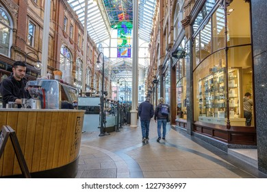 LEEDS, ENGLAND - OCTOBER 24, 2018: Leeds Victorian and Edwardian Shopping Arcades in the city center of Leeds. The historic arcades in the Victoria quarter are a center for luxury shopping.