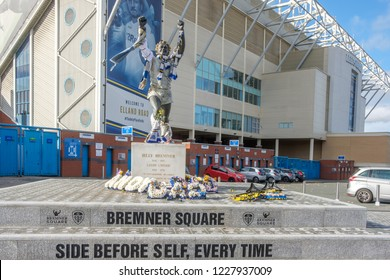 LEEDS, ENGLAND - OCTOBER 24, 2018: Bremner square and Elland Road stadium. The stadium, which is the home of Leeds United FC, is famous for its electric atmosphere.