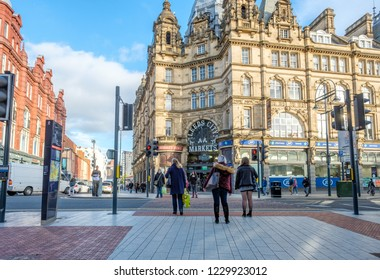 LEEDS, ENGLAND - OCTOBER 24, 2018: Leeds Kirkgate Market in the city center of Leeds. This historic market is the largest covered market in Europe.
