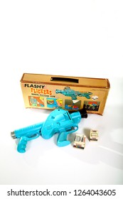 Leeds England UK August 25 2018 Vintage Marx toys Flashy Flickers magic picture gun toy from the 1960s-1970s with copy space - Editorial