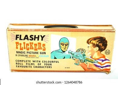 Leeds England UK August 25 2018 Vintage Marx toys Flashy Flickers magic picture gun toy from the 1960s-1970s - Editorial