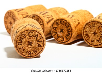 Leeds England UK July 13 2020 Cava wine cork stoppers isolated on a white background - Editorial