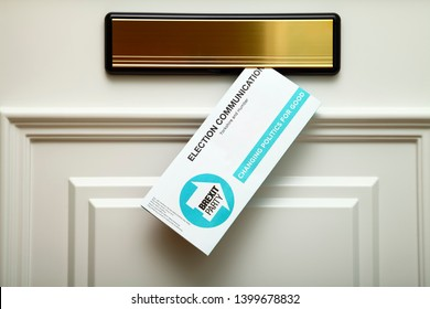 Leeds England UK May 15 2019 A Brexit party leaflet posted through the letterbox of a door as part of canvassing for the upcoming European elections on the 23rd May 2019 Illustrative Editorial
