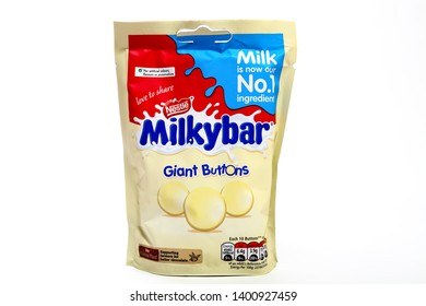 Leeds England UK November 27 2018 Packet of nestle milky bar giant buttons isolated on a white background - Editorial