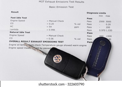 LEEDS - OCTOBER 1: Mot exhaust emissions test result. Volkswagen admit to fitting diesel engined vehicles with devices which could effect the outcome of emissions tests, October 1, 2015 Leeds,