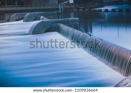 Leeds, River Aire, UK, long exposure taken Near Leeds Dock of Water Flowing Between Different Levels