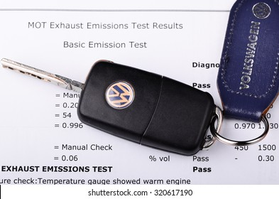 LEEDS - SEPTEMBER 26: Mot exhaust emissions test result. Volkswagen admit to fitting diesel engined vehicles with devices which could effect the outcome of emissions tests, September 26, 2015 Leeds,