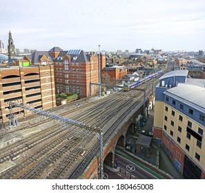 Leeds skyline with the railway tracks leading into Leeds station, England, UK