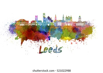 Leeds skyline in watercolor splatters with clipping path
