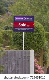 LEEDS, UK - 1 OCTOBER 2017.  A Purple Bricks estate agency for sale sign showing sold subject to contract