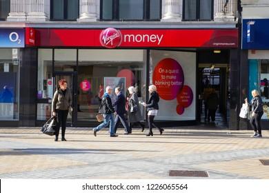 LEEDS, UK - 10 NOVEMBER 2018.  Virgin Money bank branch in Leeds