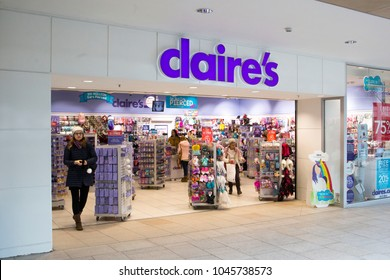 Leeds, UK - 13 March 2018.  Claire's Accessories store in Leeds.
