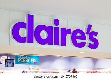 Leeds, UK - 13 March 2018.  Claire's Accessories Shop