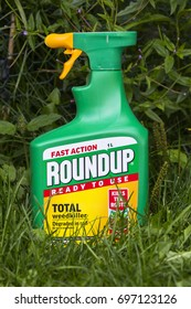 LEEDS, UK - 15 AUGUST 2017.  ROUNDUP FAST ACTION WEEDKILLER WITH GLYPHOSPHATE BY MONSANTO.