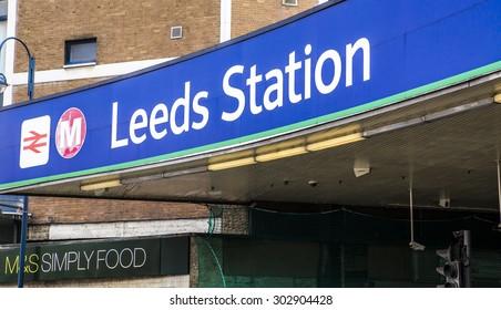 LEEDS, UK - 23 JULY 2015.  Sign at the entrance to Leeds Train Station