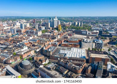 Leeds UK, 25th May 2020: Aerial drone photo of the Leeds Kirkgate Market from above showing the large market and busses in the Leeds city centre West Yorkshire in the UK