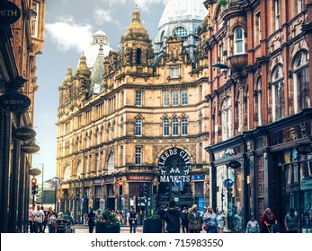 LEEDS, UK - 27 Aug 2017; Leeds City Kirkgate Market at the city centre with sun flare, travelling to a classic city, tourist life, exploring Leeds